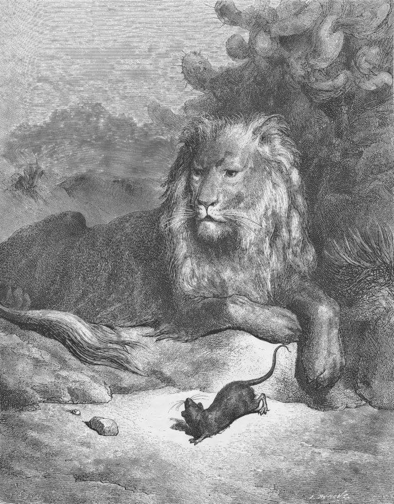Le Lion et Le Rat de Jean de La Fontaine illustration par Gustave Doré