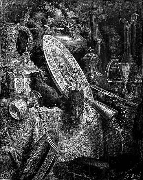 Le Rat de Ville et Le Rat des Champs de Jean de La Fontaine illustration par Gustave Doré