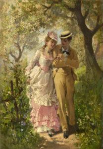 Au Bois de Guy de Maupassant - Peinture de Philippe-Jacques Linder - Couple dans un bois