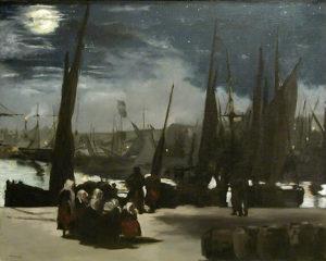 En Mer de Guy de Maupassant - Peinture de Édouard Manet - Clair de Lune sur Le Port de Boulogne - 1868