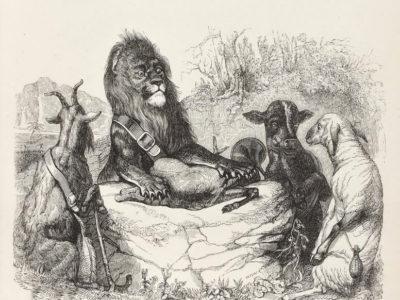 La Génisse, La Chèvre et La Brebis, en Société avec Le Lion