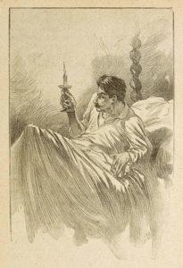 Le Horla de Guy de Maupassant - Gravure sur bois de Georges Lemoine d'après illustration par William Julian-Damazy - La Bougie - 1908