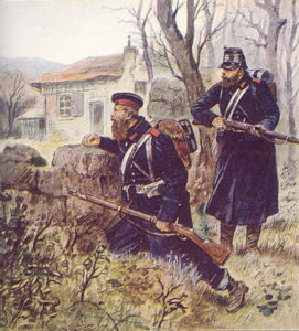 L'Aventure de Walter Schnaffs de Guy de Maupassant - Peinture de soldats prussiens
