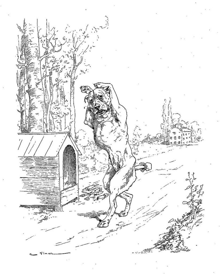 Le Chien à qui On a Coupé Les Oreilles de Jean de La Fontaine dans Les Fables - Illustration de Auguste Vimar - 1897