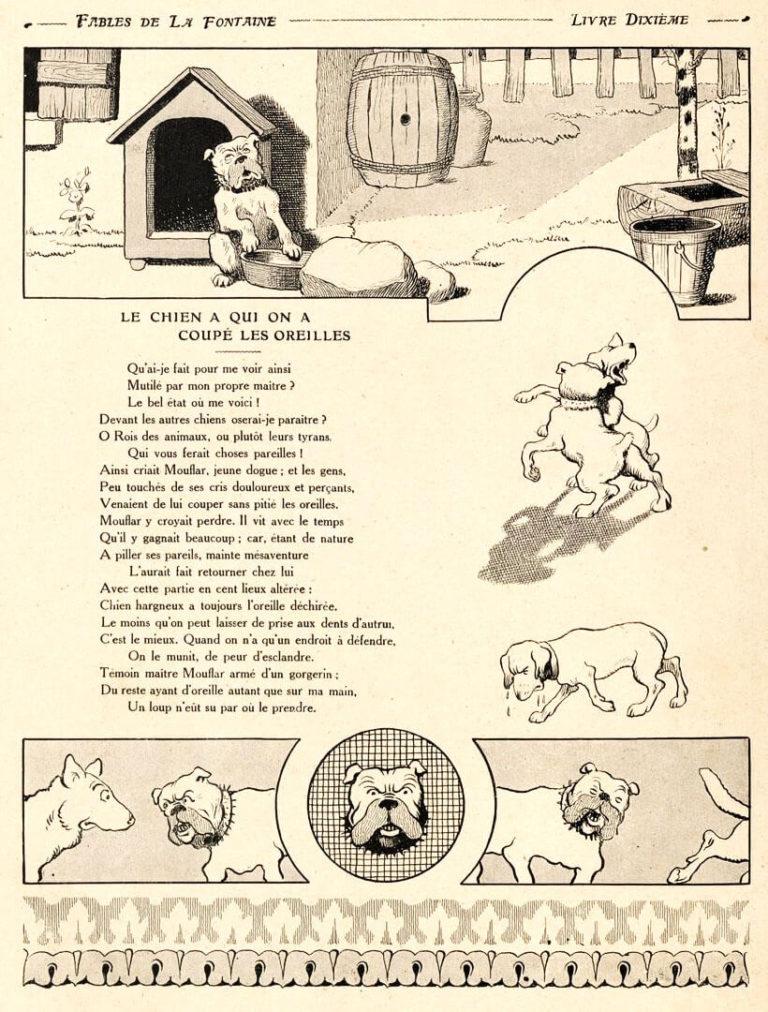 Le Chien à qui On a Coupé Les Oreilles de Jean de La Fontaine dans Les Fables - Illustration de Benjamin Rabier - 1906