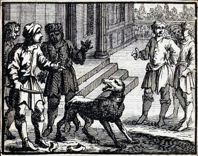 Le Chien à qui On a Coupé Les Oreilles de Jean de La Fontaine dans Les Fables - Illustration de François Chauveau - 1688