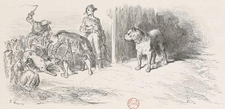 Le Chien à qui On a Coupé Les Oreilles de Jean de La Fontaine dans Les Fables - Illustration de Gustave Doré - 1876