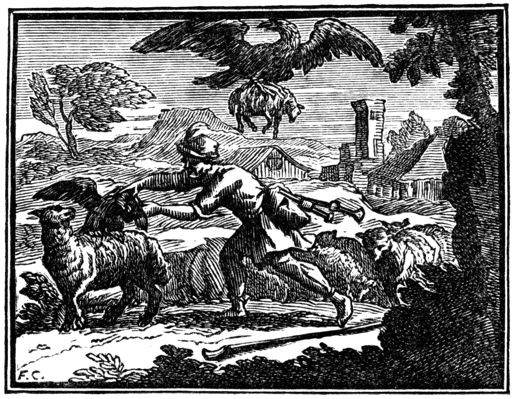 Le Corbeau Voulant Imiter l'Aigle - Fable de Jean de La ...