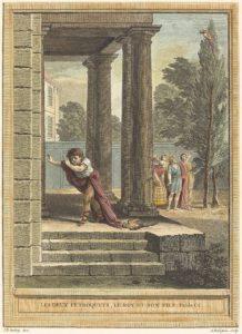Les Deux Perroquets, Le Roi et Son Fils de Jean de La Fontaine dans Les Fables - Gravure en couleur par Antoine Radigues d'après un dessin de Jean-Baptiste Oudry - 1759