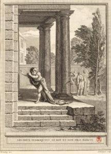 Les Deux Perroquets, Le Roi et Son Fils de Jean de La Fontaine dans Les Fables - Gravure par Antoine Radigues d'après un dessin de Jean-Baptiste Oudry - 1759