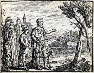 Les Deux Perroquets, Le Roi et Son Fils de Jean de La Fontaine dans Les Fables - Illustration de François Chauveau - 1688