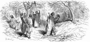 Les Deux Perroquets, Le Roi et Son Fils de Jean de La Fontaine dans Les Fables - Illustration de Gustave Doré - 1876