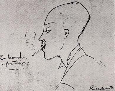 Arthur Rimbaud - Dessin de Ernest Delahaye dans une lettre adressée à Paul Verlaine - La tronche à Machin - 1875