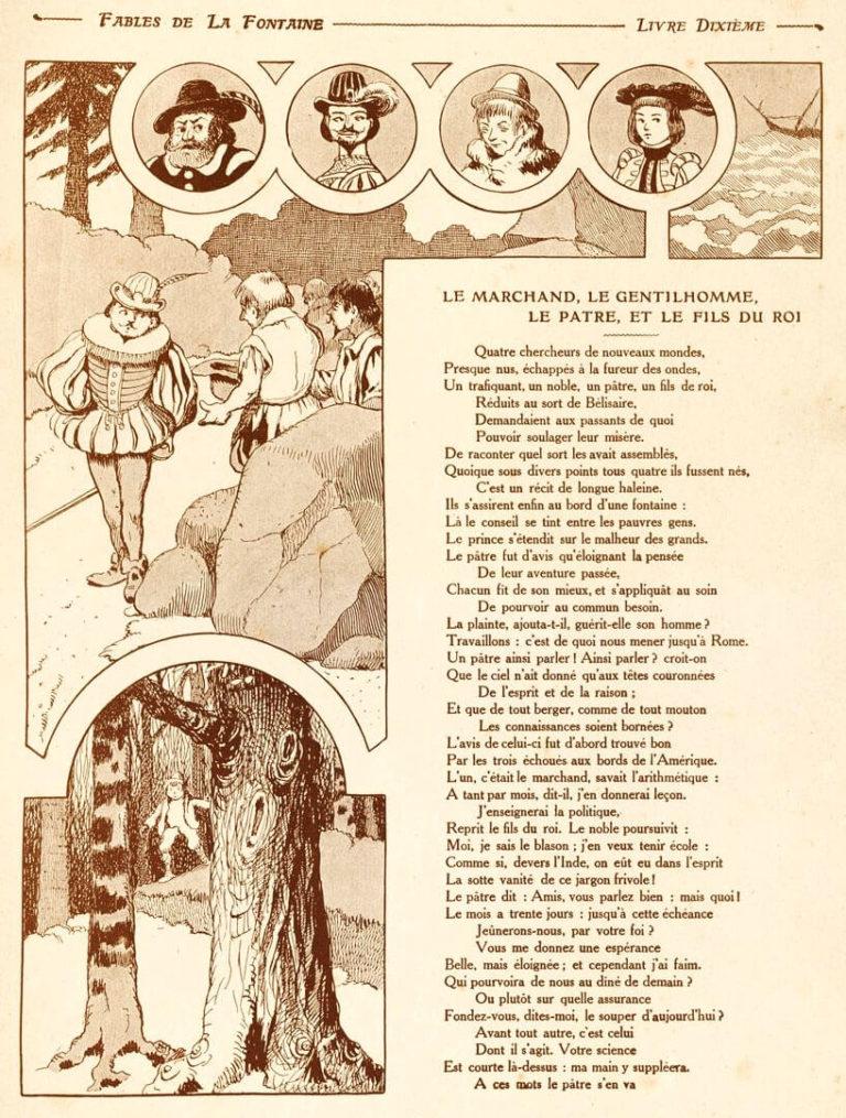 Le Marchand, Le Gentilhomme, Le Pâtre et Le Fils de Roi de Jean de La Fontaine dans Les Fables - Illustration de Benjamin Rabier - 1 sur 2 - 1906