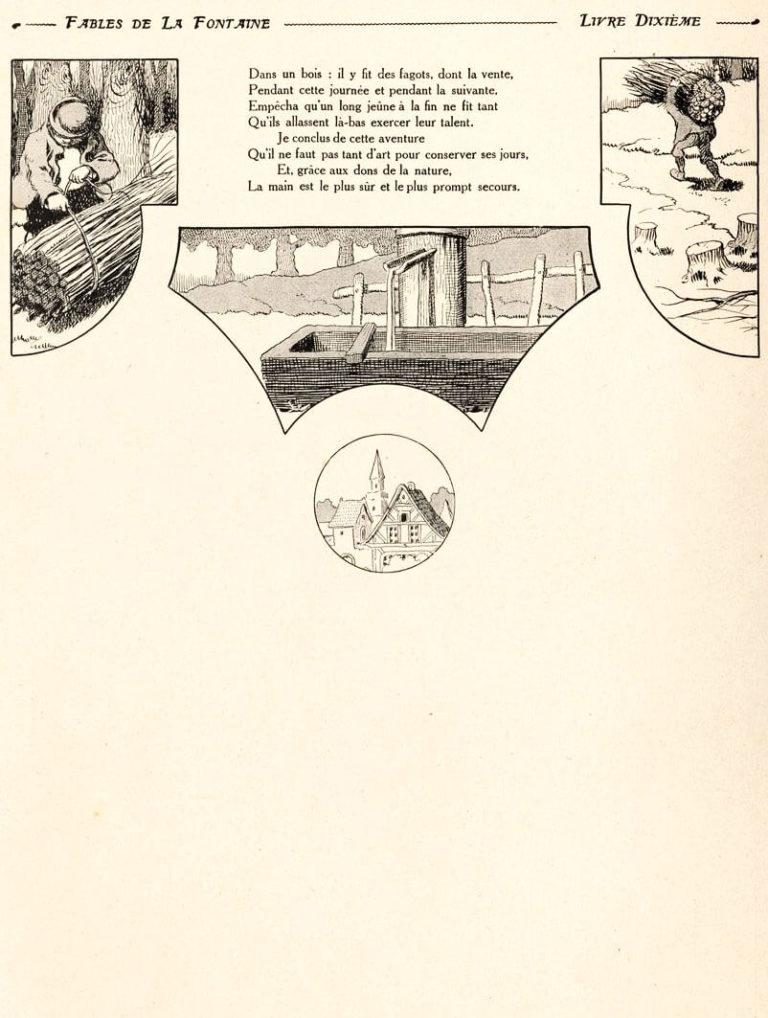 Le Marchand, Le Gentilhomme, Le Pâtre et Le Fils de Roi de Jean de La Fontaine dans Les Fables - Illustration de Benjamin Rabier - 2 sur 2 - 1906