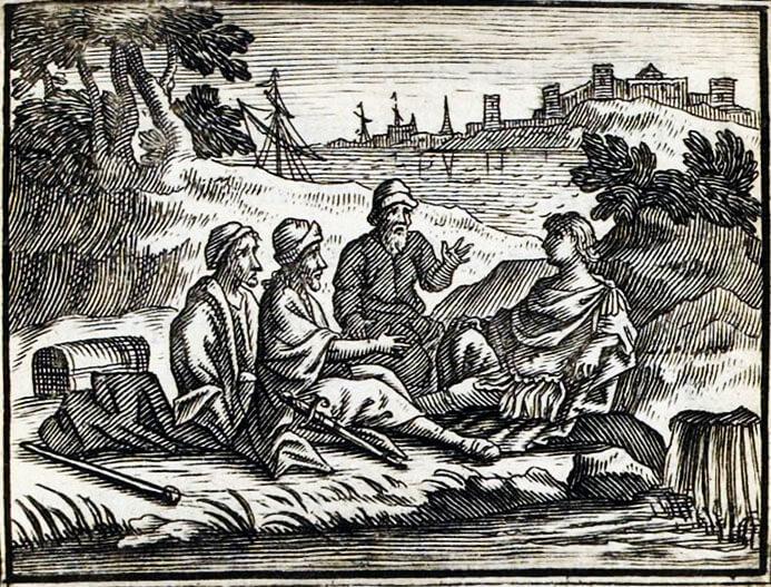 Le Marchand, Le Gentilhomme, Le Pâtre et Le Fils de Roi de Jean de La Fontaine dans Les Fables - Illustration de François Chauveau - 1688