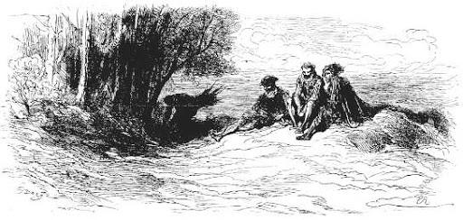 Le Marchand, Le Gentilhomme, Le Pâtre et Le Fils de Roi de Jean de La Fontaine dans Les Fables - Illustration de Gustave Doré - 1876