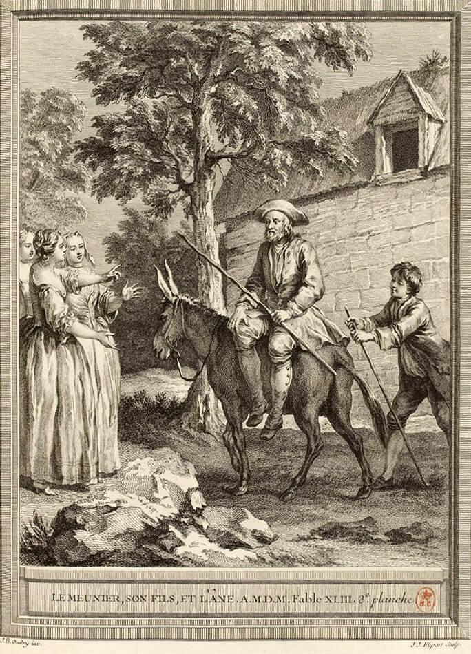 Le Meunier, Son Fils et l'Âne de Jean de La Fontaine dans Les Fables - Gravure par Jean-Jacques Flipart d'après un dessin de Jean-Baptiste Oudry - 3e planche - 1759