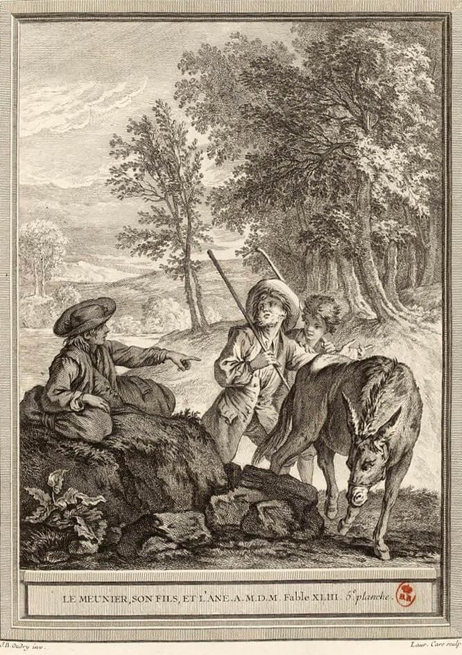 Le Meunier, Son Fils et l'Âne de Jean de La Fontaine dans Les Fables - Gravure par Laurent Cars d'après un dessin de Jean-Baptiste Oudry - 5e planche - 1759