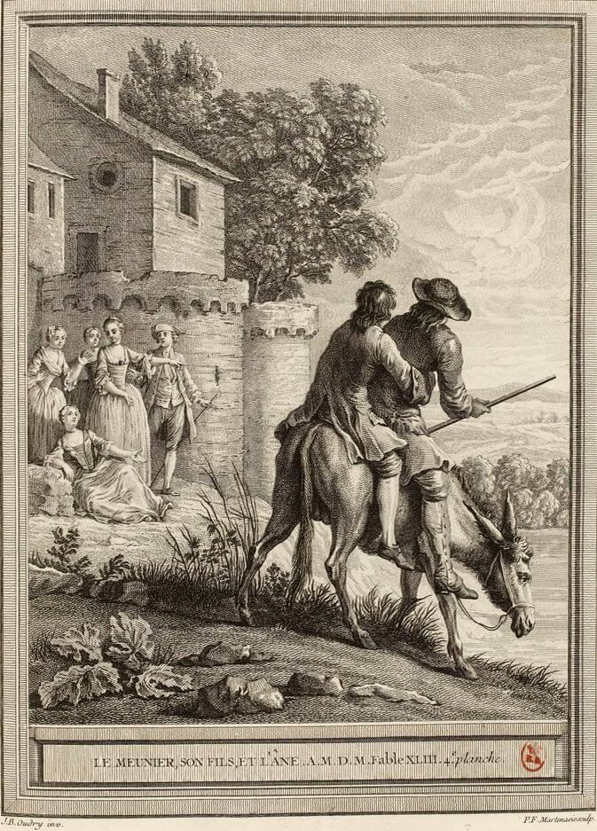 Le Meunier, Son Fils et l'Âne de Jean de La Fontaine dans Les Fables - Gravure par Pieter Franciscus Martenisie d'après un dessin de Jean-Baptiste Oudry - 4e planche - 1759