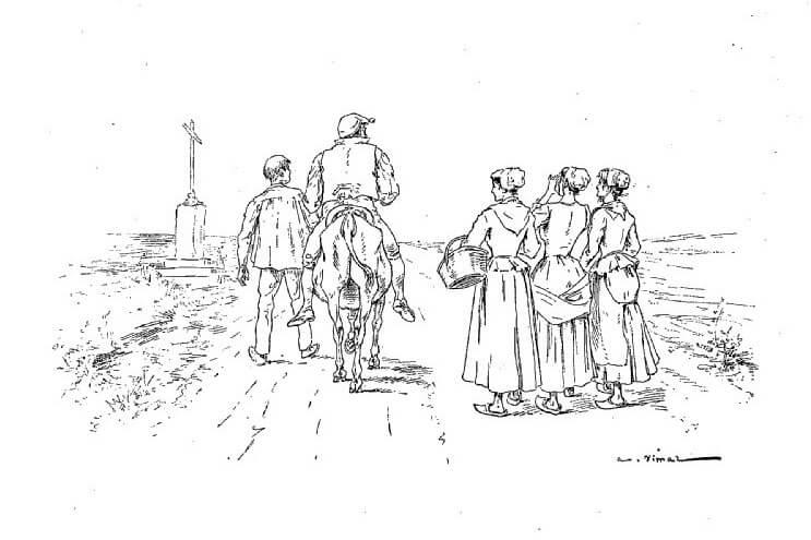 Le Meunier, Son Fils et l'Âne de Jean de La Fontaine dans Les Fables - Illustration de Auguste Vimar - 1897