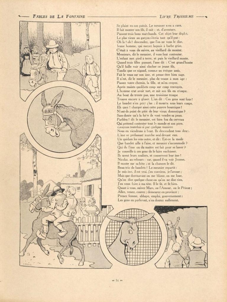 Le Meunier, Son Fils et l'Âne de Jean de La Fontaine dans Les Fables - Illustration de Benjamin Rabier - 2 sur 2 - 1906