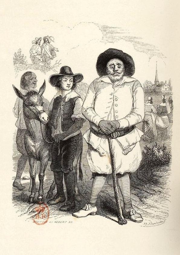 Le Meunier, Son Fils et l'Âne de Jean de La Fontaine dans Les Fables - Illustration de Grandville - 1840