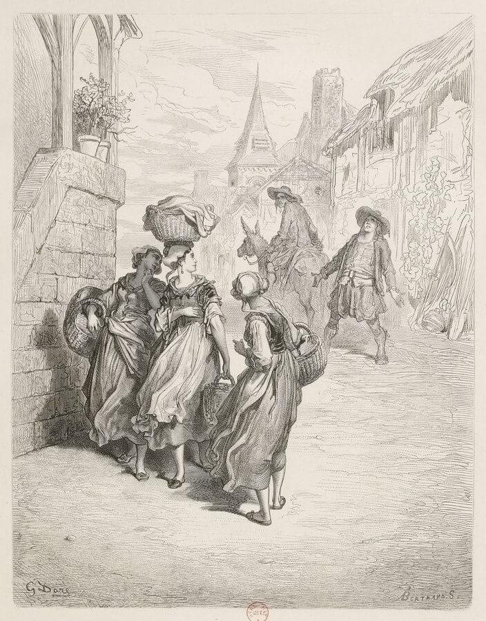 Le Meunier, Son Fils et l'Âne de Jean de La Fontaine dans Les Fables - Illustration de Gustave Doré - 1 - 1876