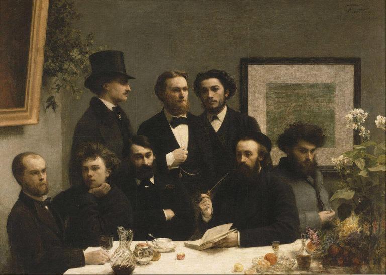 Paul Verlaine - Peinture de Henri Fantin-Latour - Coin de table - Assis Paul Verlaine, Arthur Rimbaud, Léon Valade, Ernest d'Hervilly et Camille Pelletan - 1872