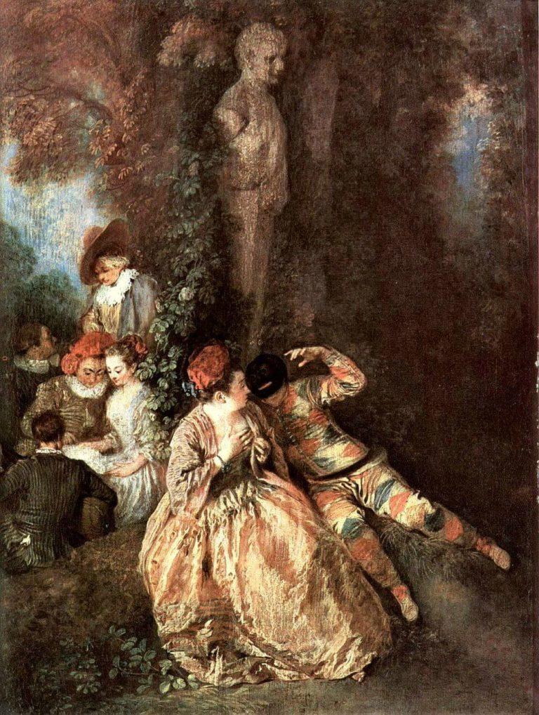 Fantoches de Paul Verlaine dans Fêtes Galantes - Peinture de Antoine Watteau - Arlequin et Colombine - 1716