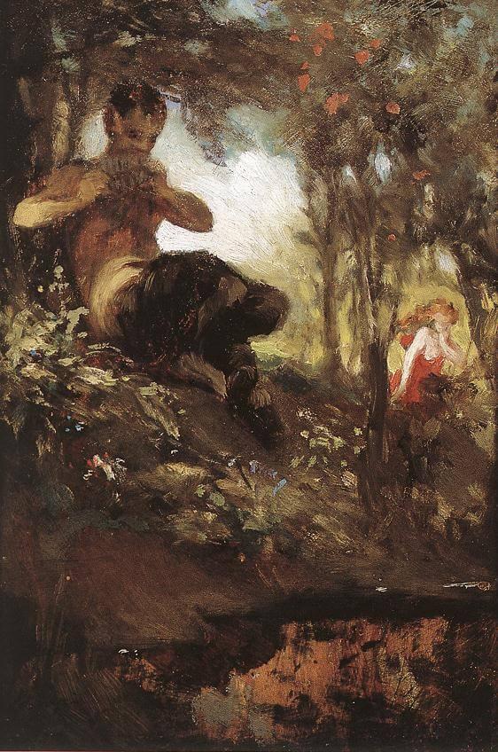 Le Faune de Paul Verlaine dans Fêtes Galantes - Peinture de Pal Szinyei Merse - Faune et Nymphe - 1867