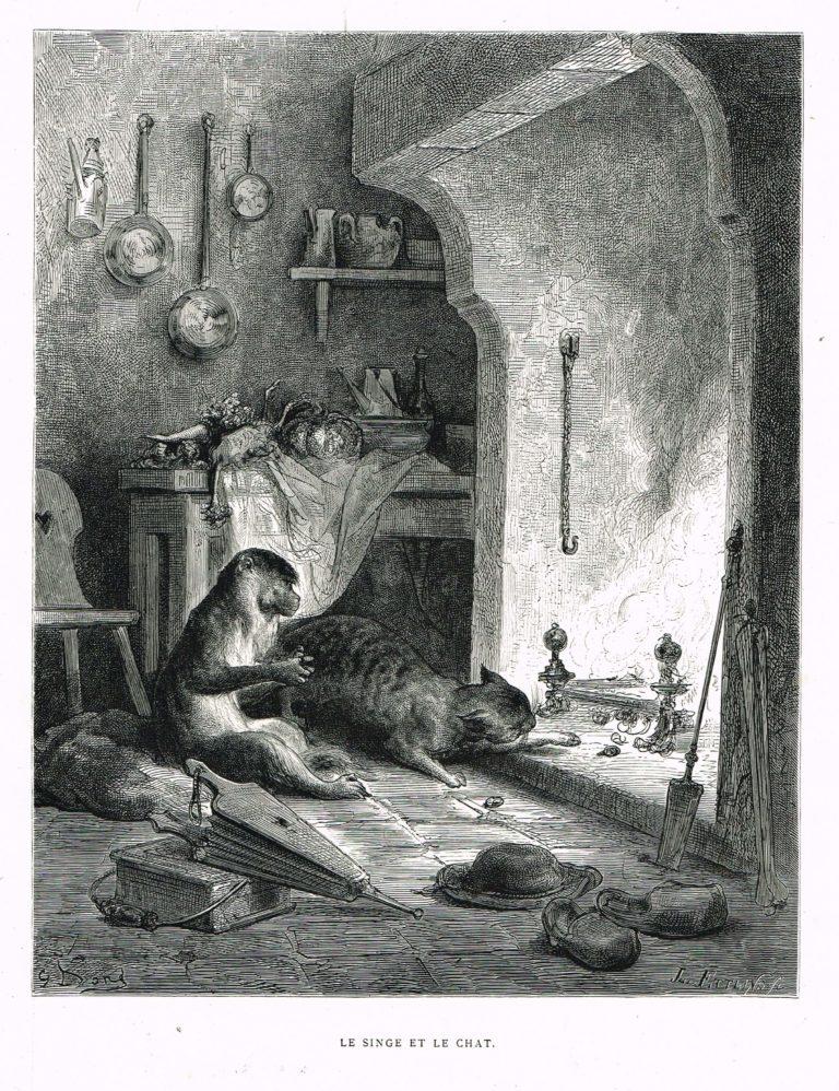 Le Singe et Le Chat de Jean de La Fontaine dans Les Fables - Gravure de Gustave Doré - 1876