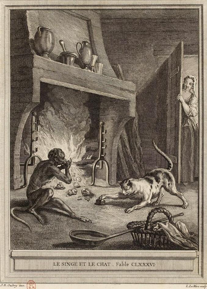 Le Singe et Le Chat de Jean de La Fontaine dans Les Fables - Gravure par Noël Lemire d'après un dessin de Jean-Baptiste Oudry - 1759