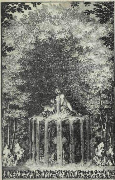 Le Singe et Le Chat de Jean de La Fontaine dans Les Fables - Gravure représentant une statue dans le labyrinte de Versailles - Charles Perrault - 1675
