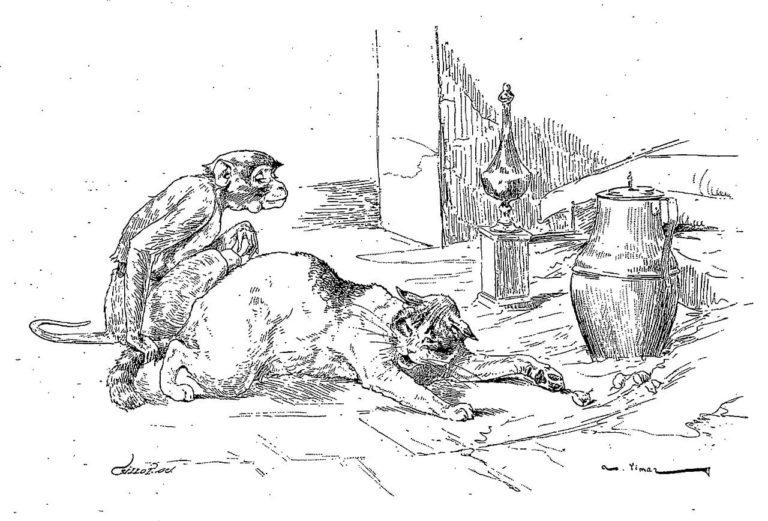 Le Singe et Le Chat de Jean de La Fontaine dans Les Fables - Illustration de Auguste Vimar - 1897