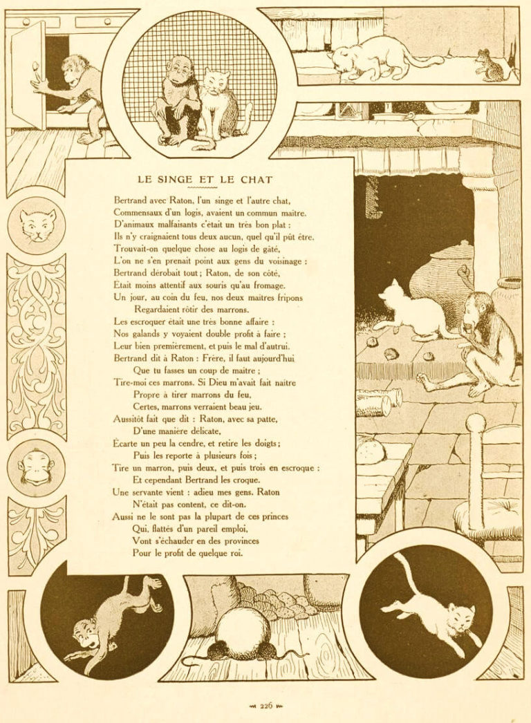 Le Singe et Le Chat de Jean de La Fontaine dans Les Fables - Illustration de Benjamin Rabier - 1906
