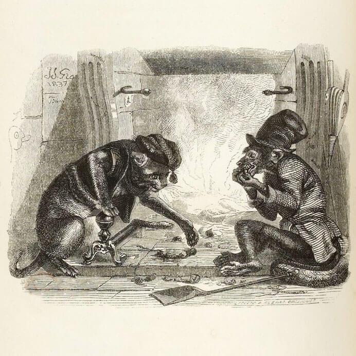 Le Singe et Le Chat de Jean de La Fontaine dans Les Fables - Illustration de Grandville - 2 - 1840