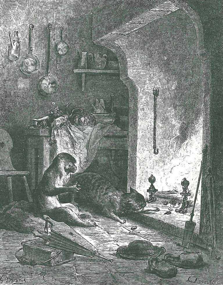 Le Singe et Le Chat de Jean de La Fontaine dans Les Fables - Illustration de Gustave Doré - 1876