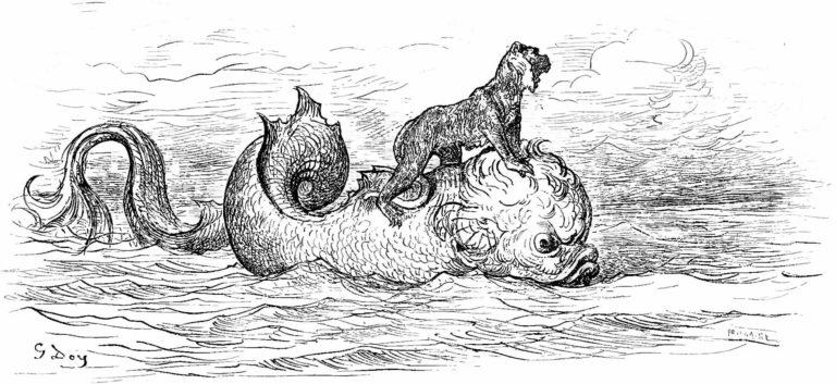 Le Singe et Le Dauphin de Jean de La Fontaine dans Les Fables - Gravure de Gustave Doré - 1876