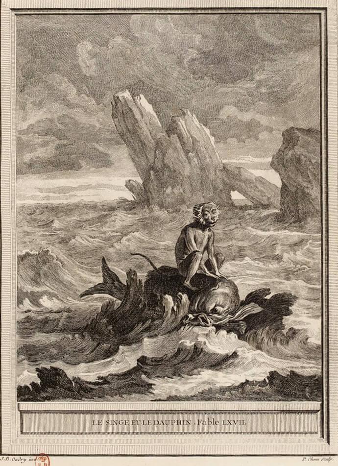 Le Singe et Le Dauphin de Jean de La Fontaine dans Les Fables - Gravure par Pierre Chenu d'après un dessin de Jean-Baptiste Oudry - 1759