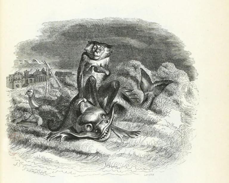 Le Singe et Le Dauphin de Jean de La Fontaine dans Les Fables - Illustration de Grandville - 1840