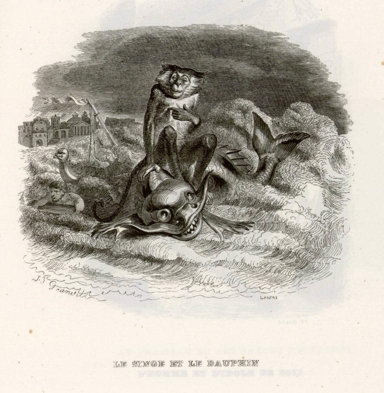 Le Singe et Le Dauphin de Jean de La Fontaine dans Les Fables - Illustration de Grandville - 2 - 1840