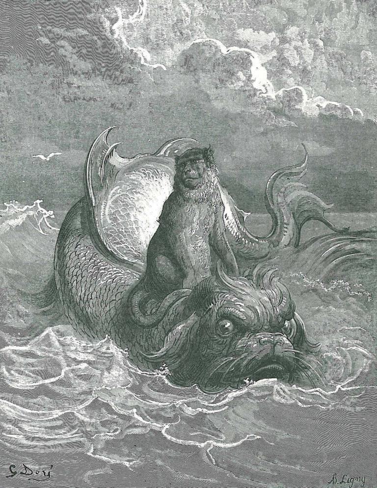 Le Singe et Le Dauphin de Jean de La Fontaine dans Les Fables - Illustration de Gustave Doré - 1876