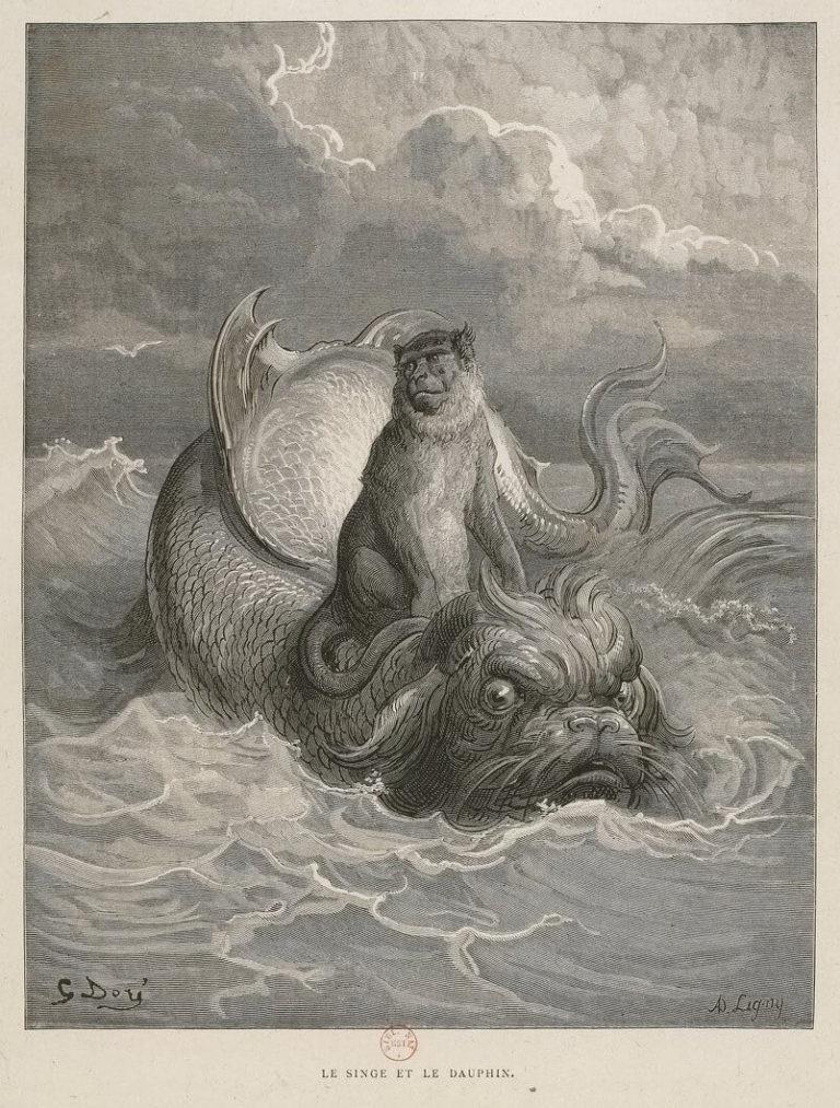 Le Singe et Le Dauphin de Jean de La Fontaine dans Les Fables - Illustration de Gustave Doré - BNF - 1876