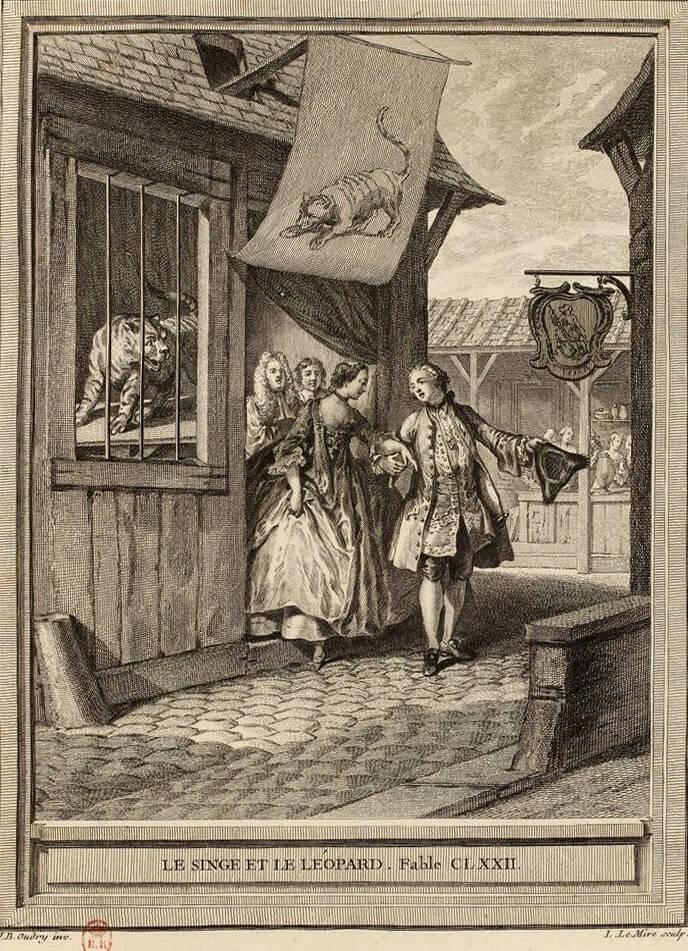 Le Singe et Le Léopard de Jean de La Fontaine dans Les Fables - Gravure par Noël Lemire d'après un dessin de Jean-Baptiste Oudry - 1759