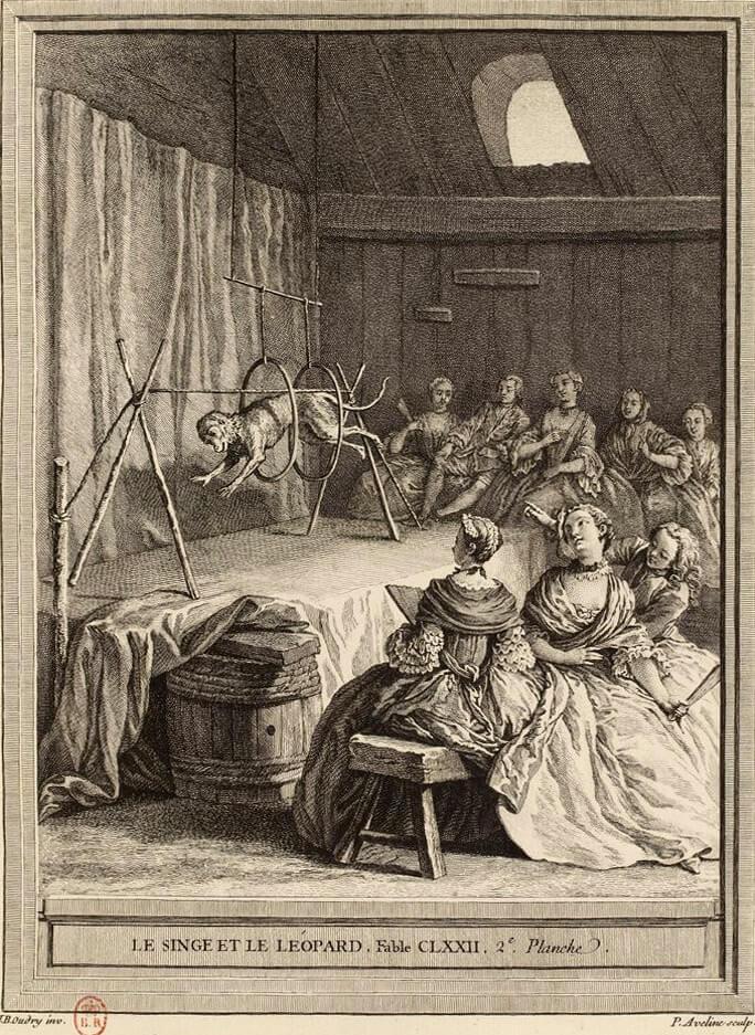Le Singe et Le Léopard de Jean de La Fontaine dans Les Fables - Gravure par Pierre Alexandre Aveline d'après un dessin de Jean-Baptiste Oudry - 2ème planche - 1759