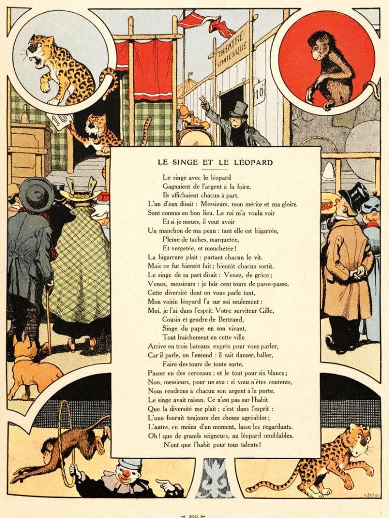 Le Singe et Le Léopard de Jean de La Fontaine dans Les Fables - Illustration de Benjamin Rabier - 1906