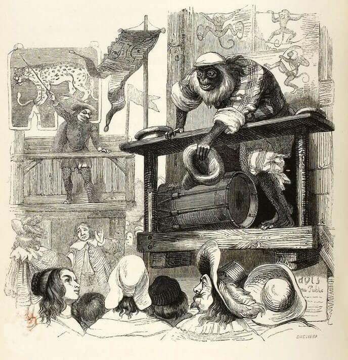 Le Singe et Le Léopard de Jean de La Fontaine dans Les Fables - Illustration de Grandville - 1840