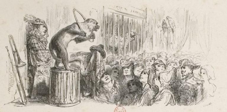 Le Singe et Le Léopard de Jean de La Fontaine dans Les Fables - Illustration de Gustave Doré - 1876