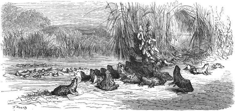 Le Soleil et Les Grenouilles de Jean de La Fontaine dans Les Fables - Gravure de Gustave Doré - 1876